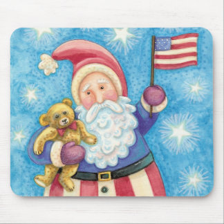 Cute Christmas, Patriotic Santa Claus with Flag Mouse Pad