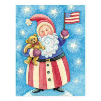 Cute Christmas, Patriotic Santa Claus with Flag Postcard