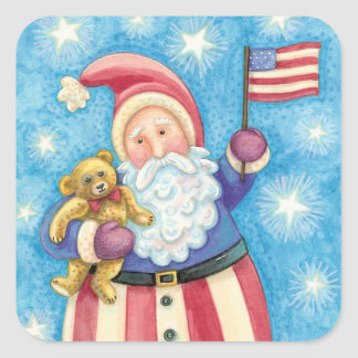 Cute Christmas, Patriotic Santa Claus with Flag Square Sticker