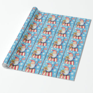 Cute Christmas, Patriotic Santa Claus with Flag Wrapping Paper