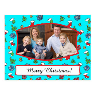Cute Christmas Pattern Family Photo Postcard