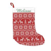 Cute Christmas Pattern Monogram Small Christmas Stocking