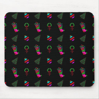 Cute Christmas Pattern on Black Background Mouse Pad