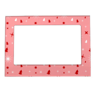 Cute Christmas Pattern Pink White Red Trees Stars Magnetic Picture Frame