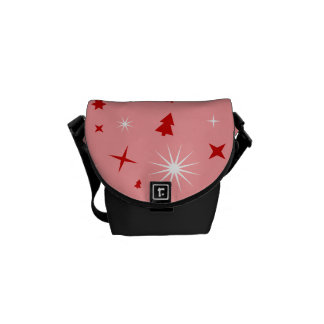 Cute Christmas Pattern Pink White Red Trees Stars Messenger Bag