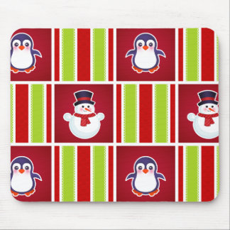 Cute Christmas Pattern With Snowmen And Penguins Mouse Pad