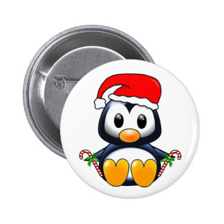 Cute Christmas Penguin Cartoon 2 Inch Round Button
