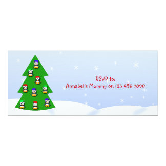 Cute Christmas Penguin Cartoon Child's Party 4x9.25 Paper Invitation Card