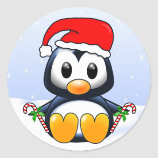 Cute Christmas Penguin Cartoon Classic Round Sticker