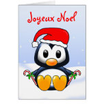 Cute Christmas Penguin Cartoon in French Language Cards
