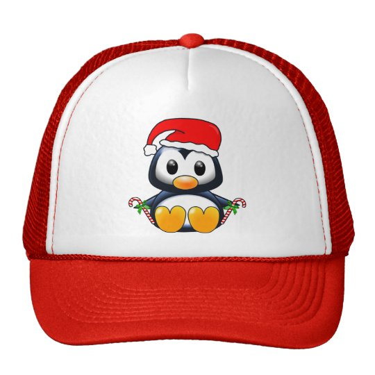 Cute Christmas Penguin Cartoon Trucker Hat