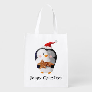 Cute Christmas Penguin Grocery Bag