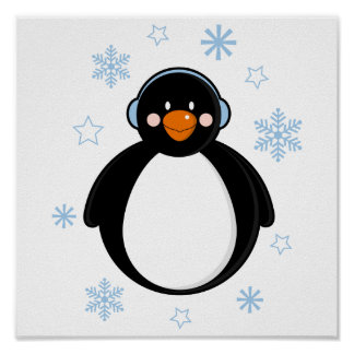 Cute Christmas Penguin in Earmuffs Poster