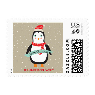 Cute Christmas Penguin Merry Christmas Customized Postage