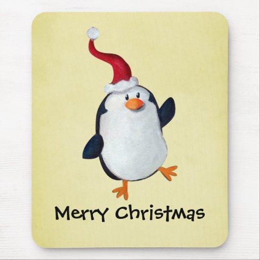 Cute Christmas Penguin Mouse Pad