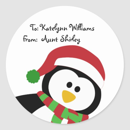 Cute Christmas Penguin Personalized Gift Tags Stickers