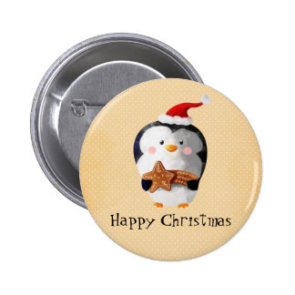Cute Christmas Penguin Pinback Button