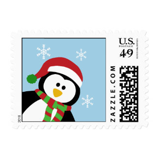 Cute Christmas Penguin Postage Stamp