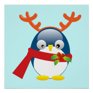 Cute Christmas Penguin Poster