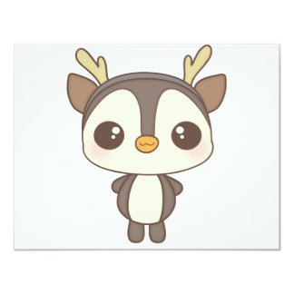cute christmas penguin reindeer character 4.25x5.5 paper invitation card
