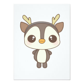 cute christmas penguin reindeer character 6.5x8.75 paper invitation card