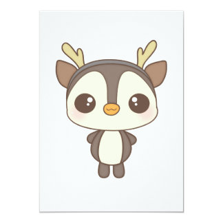 cute christmas penguin reindeer character 5x7 paper invitation card