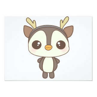 cute christmas penguin reindeer character 5.5x7.5 paper invitation card