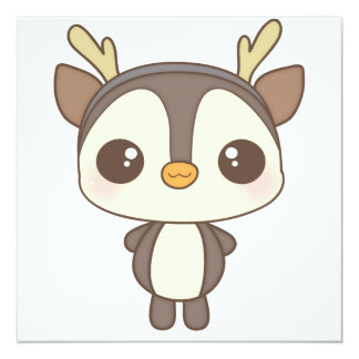 cute christmas penguin reindeer character 5.25x5.25 square paper invitation card