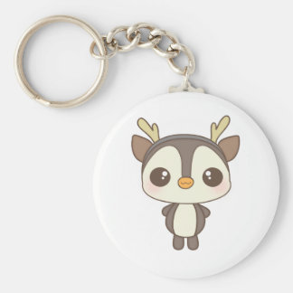 cute christmas penguin reindeer character basic round button keychain