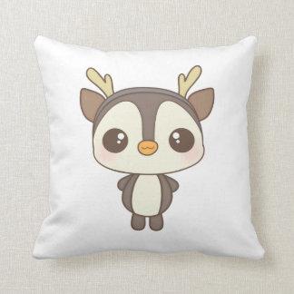 cute christmas penguin reindeer character throw pillows