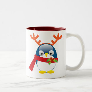 Cute Christmas Penguin Two-Tone Coffee Mug