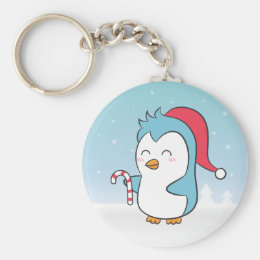 Cute Christmas Penguin with Candy Cane Keychain
