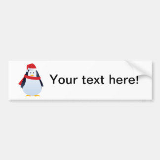 Cute Christmas penguin with hat and scarf Bumper Sticker