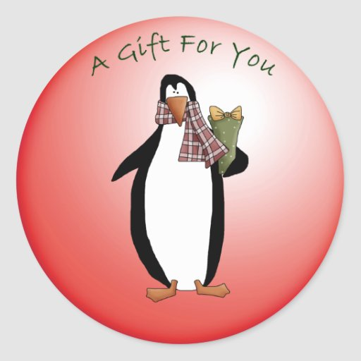 Cute Christmas Penguin with Holiday GIft Round Sticker