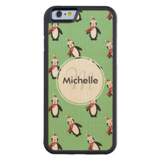 Cute Christmas Penguins Carved Maple iPhone 6 Bumper Case