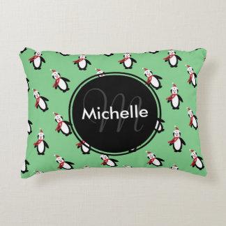 Cute Christmas Penguins Decorative Pillow