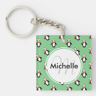 Cute Christmas Penguins Keychain