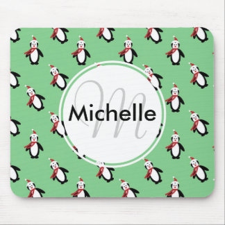 Cute Christmas Penguins Mouse Pad