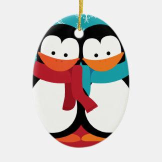 Cute Christmas Penguins Christmas Tree Ornament