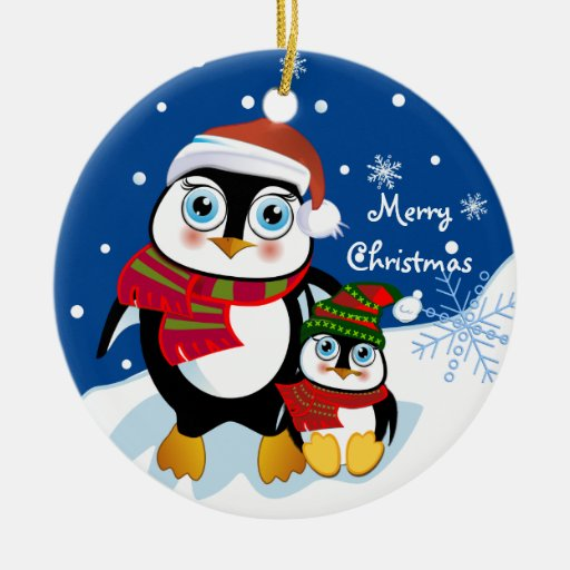 Cute Christmas Penguins ornament with Text