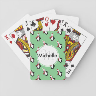 Cute Christmas Penguins Playing Cards