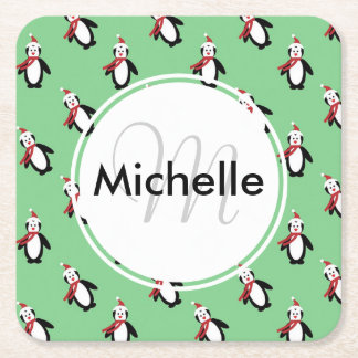 Cute Christmas Penguins Square Paper Coaster