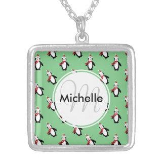Cute Christmas Penguins Square Pendant Necklace