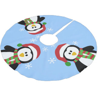 Cute Christmas Penguins Tree Skirt