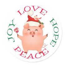 Cute Christmas Pig Hope Peace Classic Round Sticker