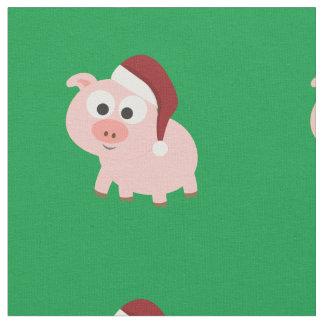 Cute Christmas Pig Wearing a Santa Hat Fabric
