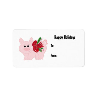 Cute Christmas Piggy Gift Tag Label