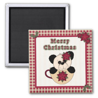 Cute Christmas Plaid Pattern Border & Panda Bear Magnet