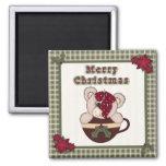 Cute Christmas Plaid Pattern Border & Teddy Bear Refrigerator Magnets