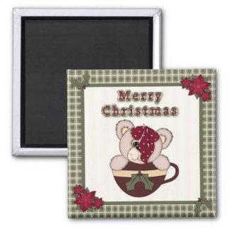 Cute Christmas Plaid Pattern Border & Teddy Bear Magnet